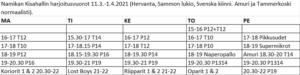 Namikan Kisahallin vuorot ylioppilaskirjoitusten aikana 11.3.-1.4.2021